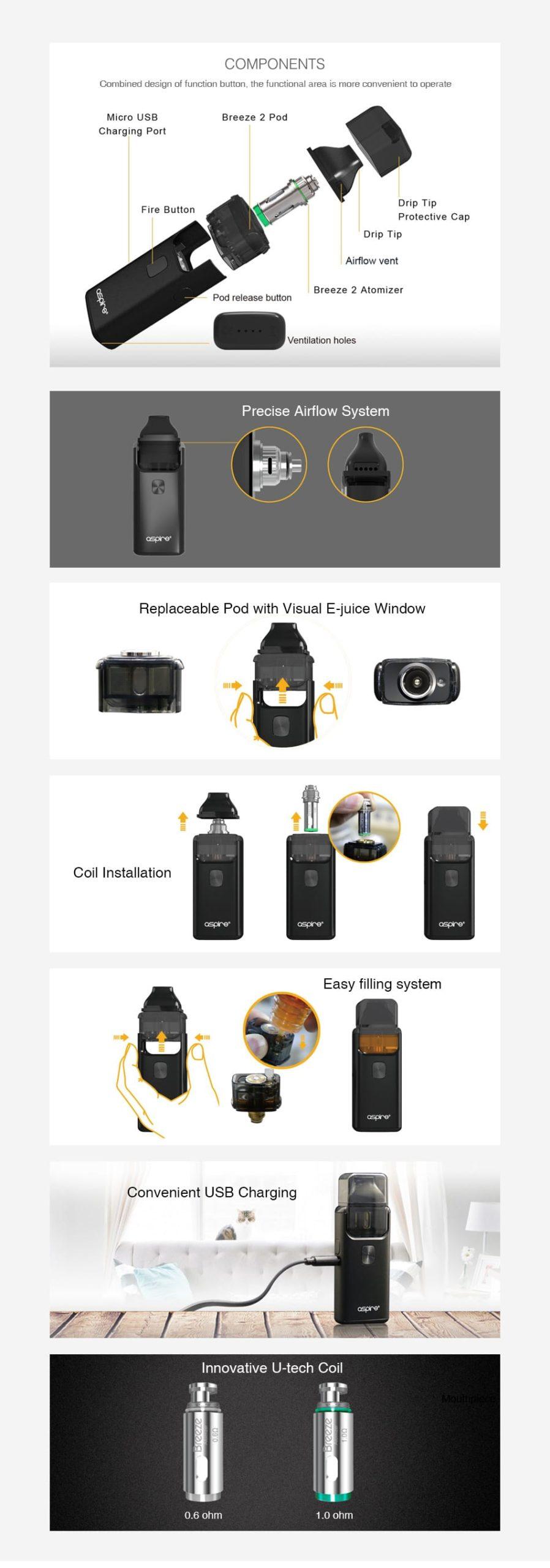 Aspire Breeze 2 AIO 2ml Starter Kit 1000mAh