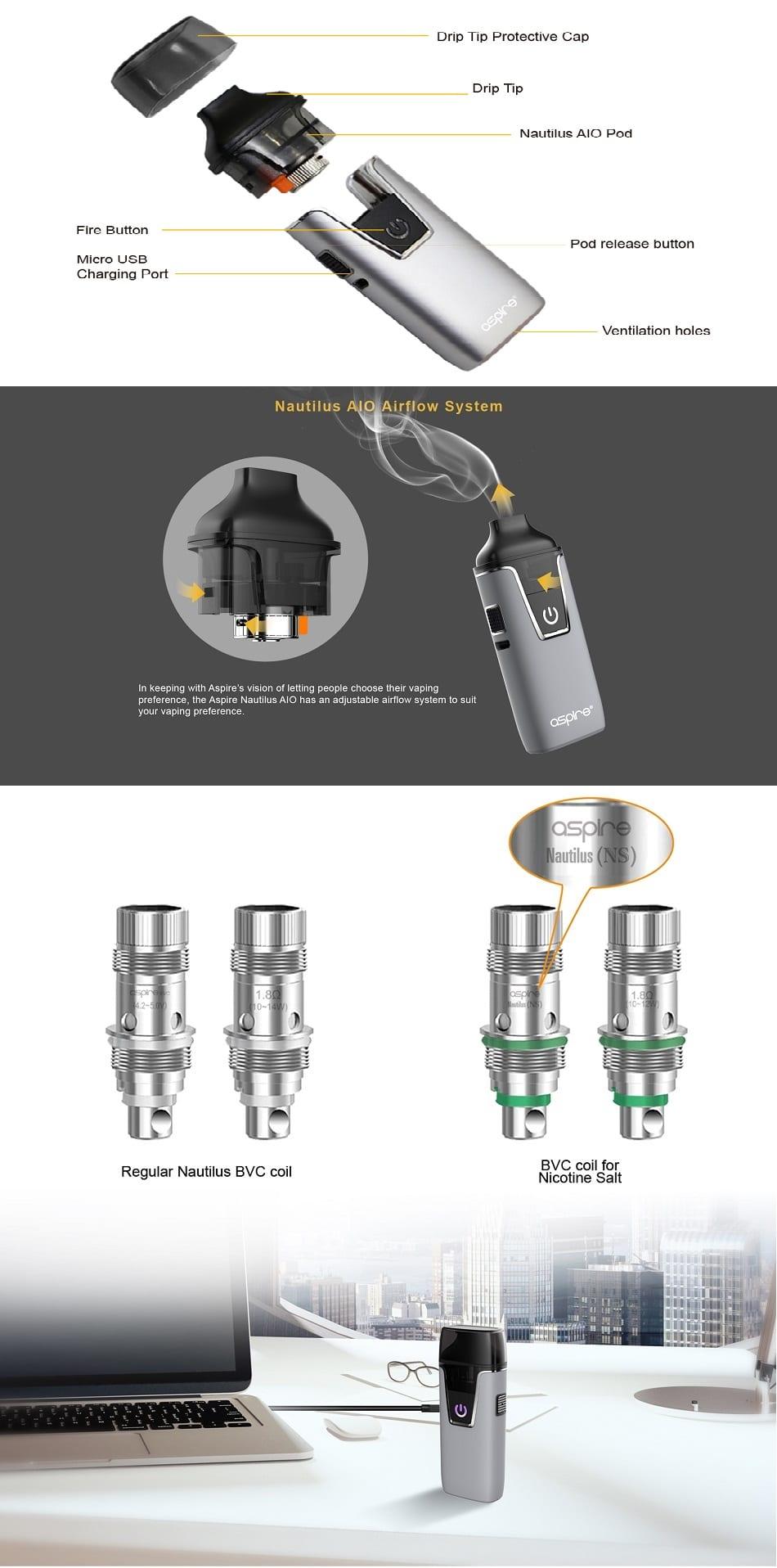 Aspire Nautilus AIO Starter Kit 1000mAh