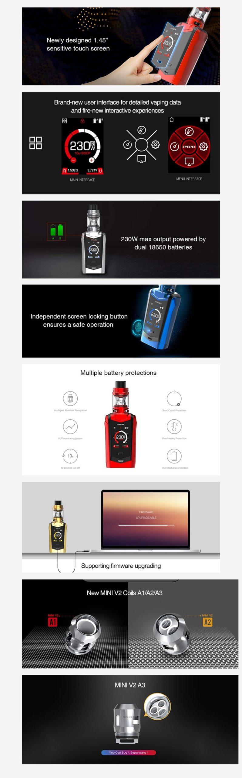 SMOK Species 230W Touch Screen TC Kit with TFV Mini V2