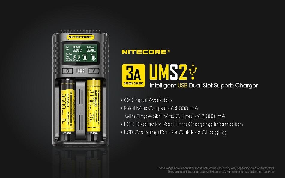 Nitecore UMS2 USB Dual-Slot-Ladegerät