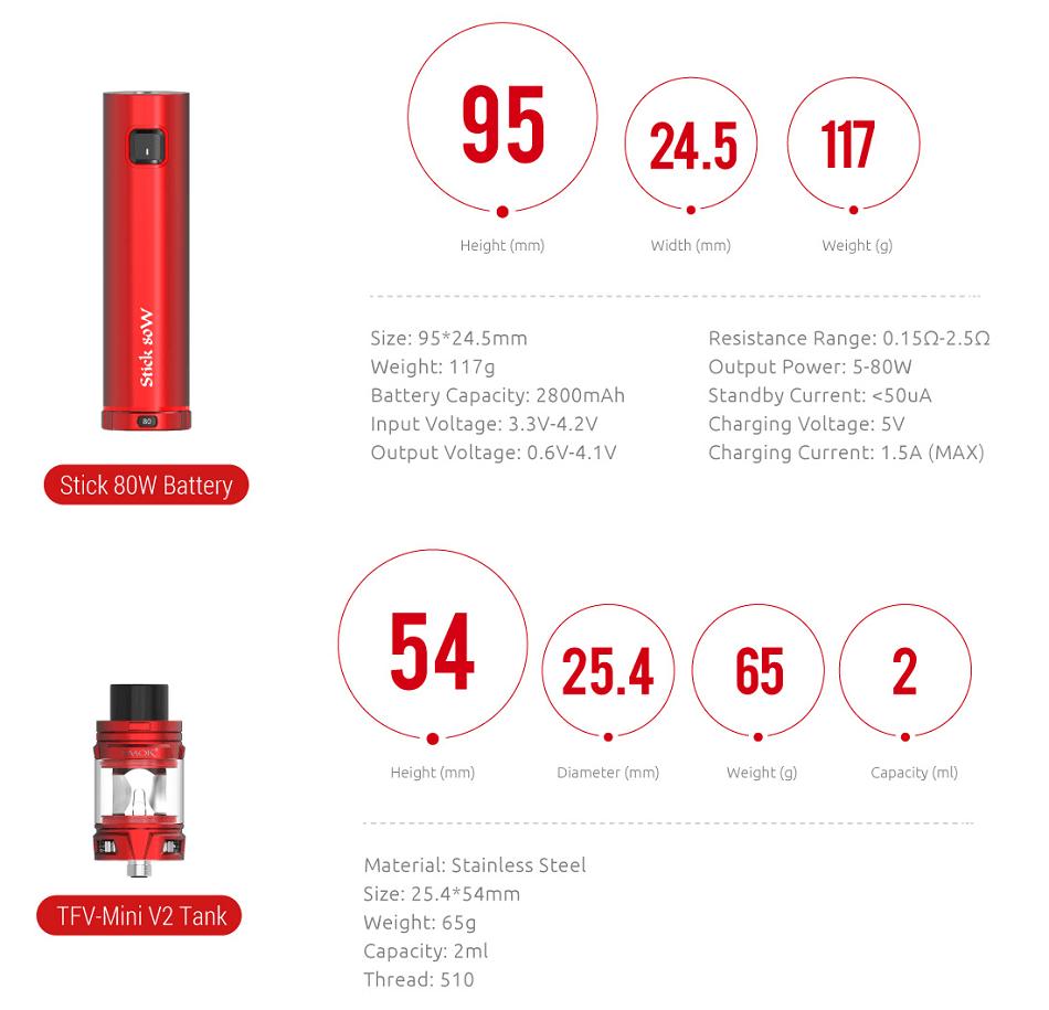 Smok - STICK 80W with 2ml TFV-Mini V2 Kit
