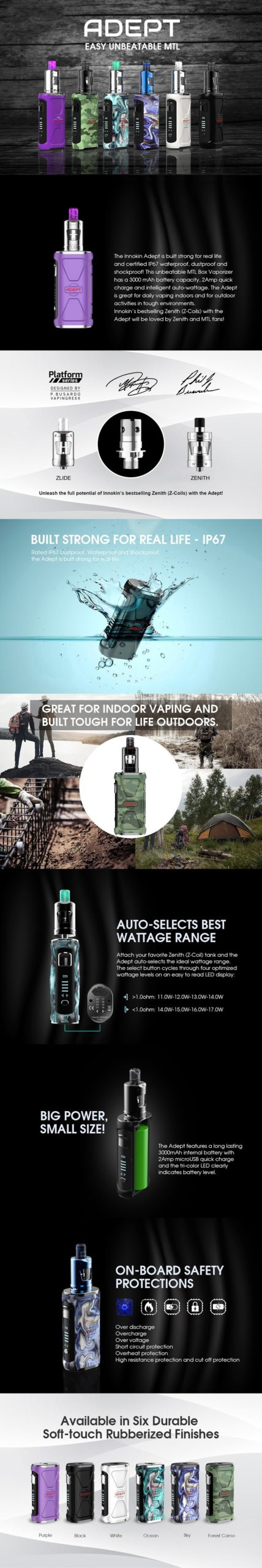 Innokin Adept Starter Kit with Zlide Tank 3000mAh