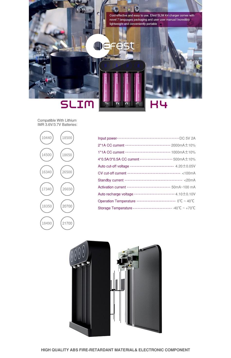 Efest - SLIM K4 USB-C oplader