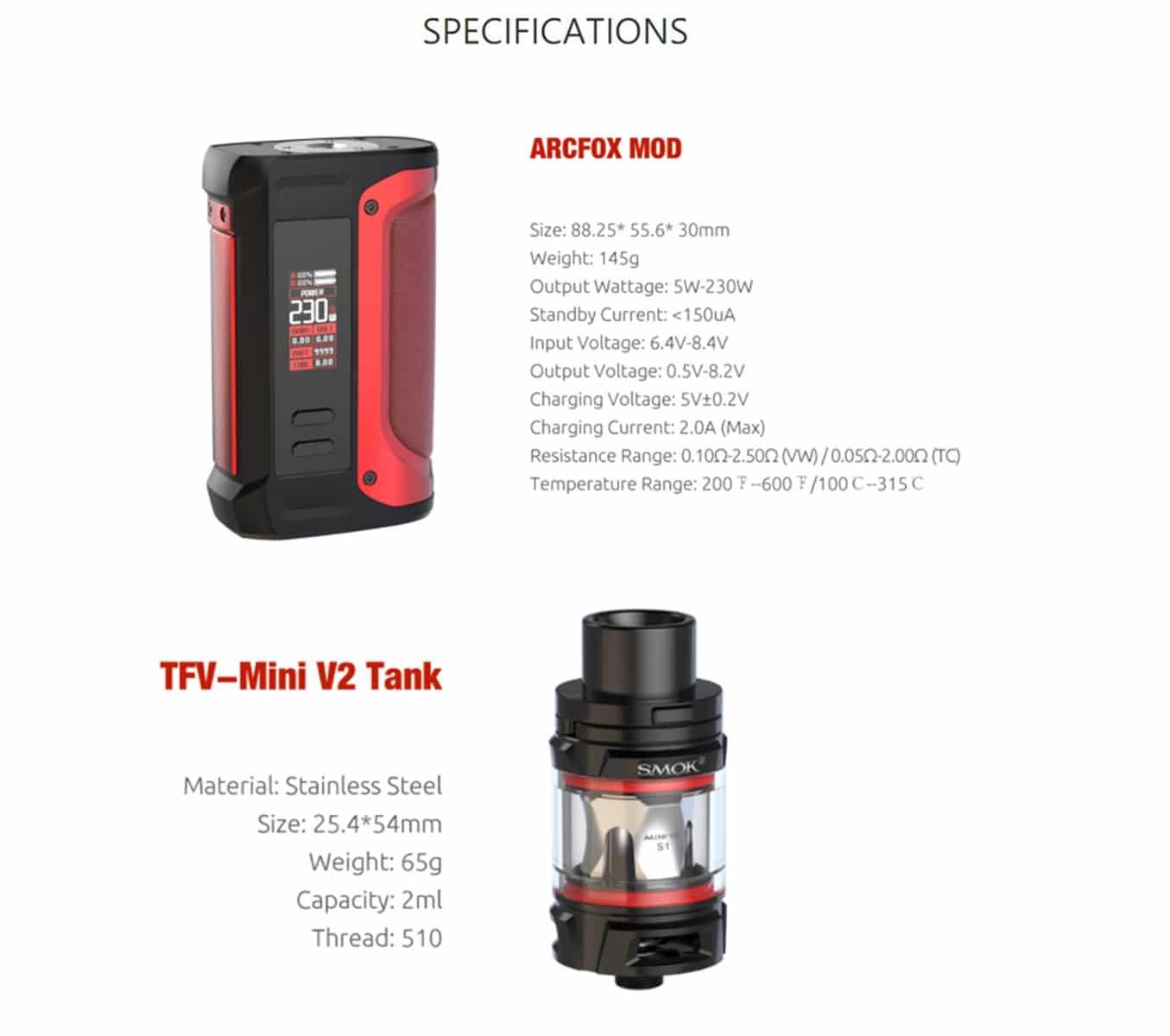 SMOK - KIT DE INICIO ARCFOX 230W CON TANQUE MINI V2