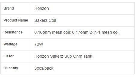 HORIZONTECH - SAKERZ REPLACEMENT COILS
